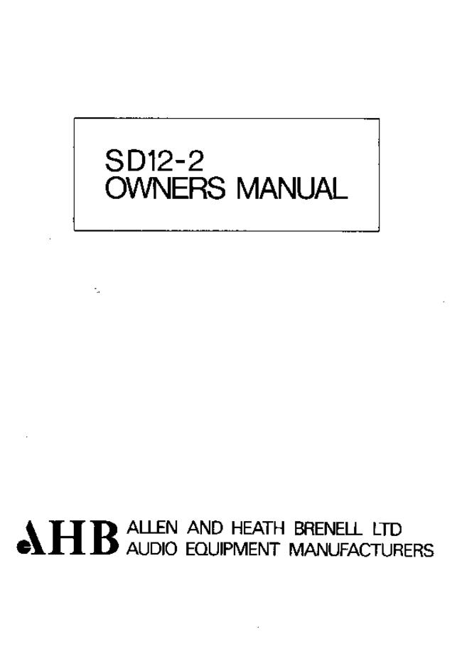 User Manual with schematics Allen SD12-2
