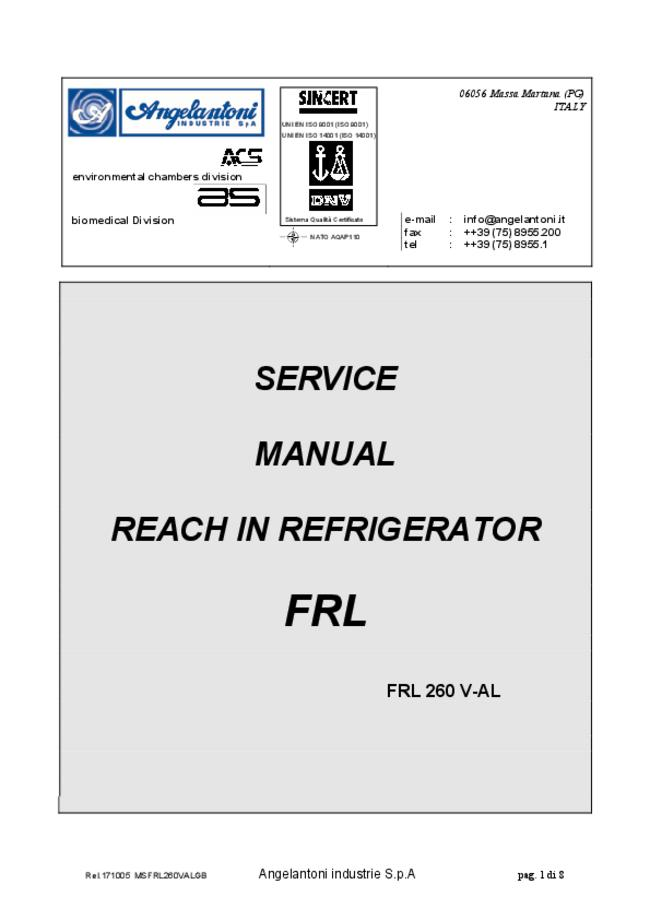 Service Manual Angelantoni FRL 260 V-AL