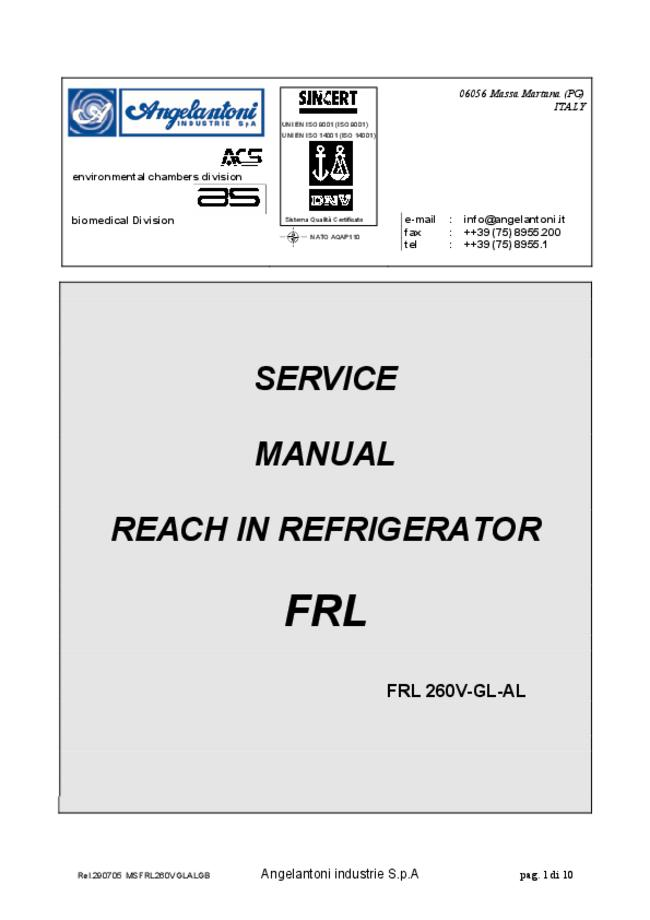 Service Manual Angelantoni FRL