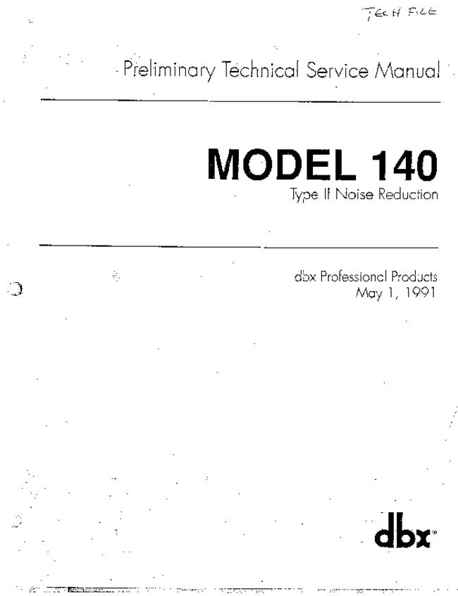 Service and User Manual DBX 140