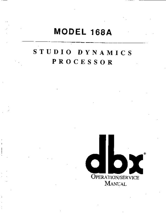 Service and User Manual DBX 168A