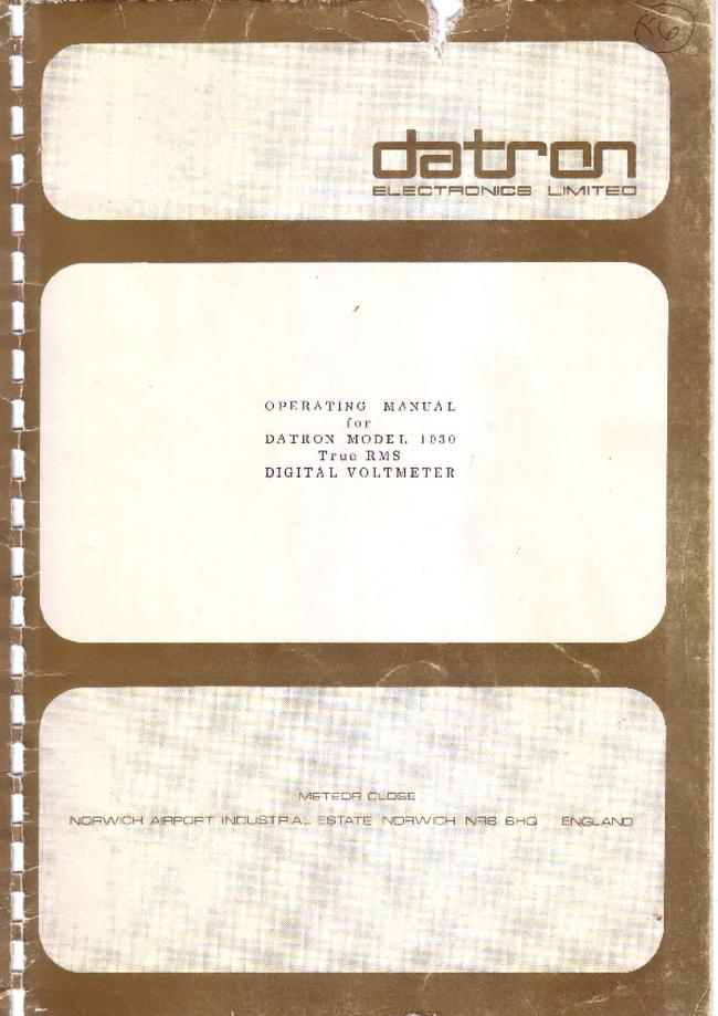 Service and User Manual Datron 1030