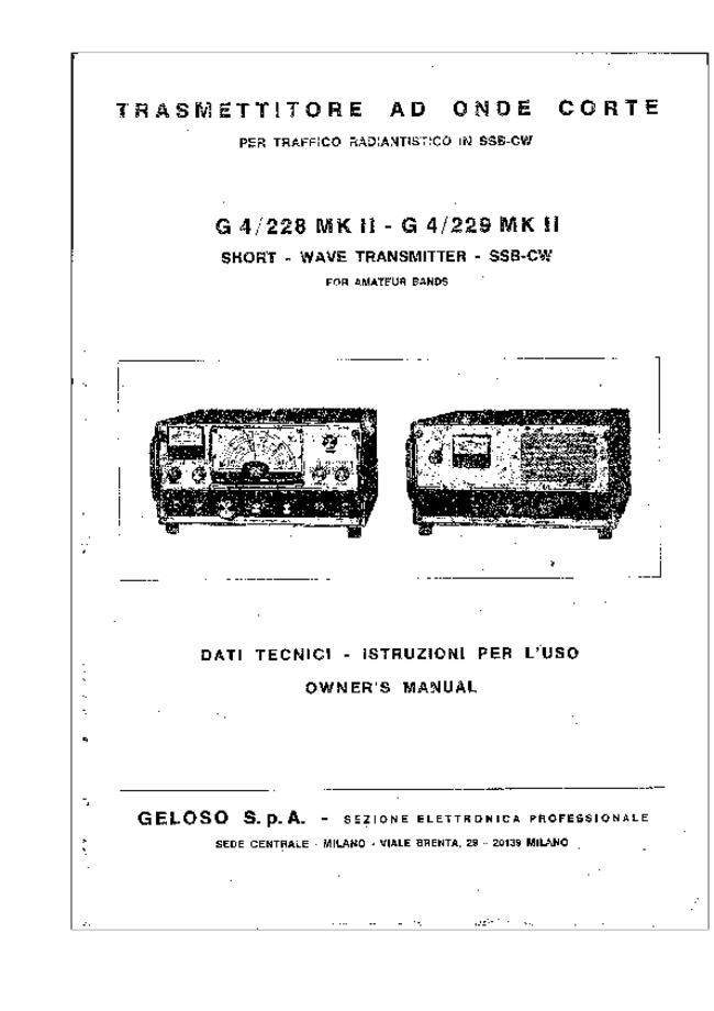 Service and User Manual Geloso G 4 / 229 MK II