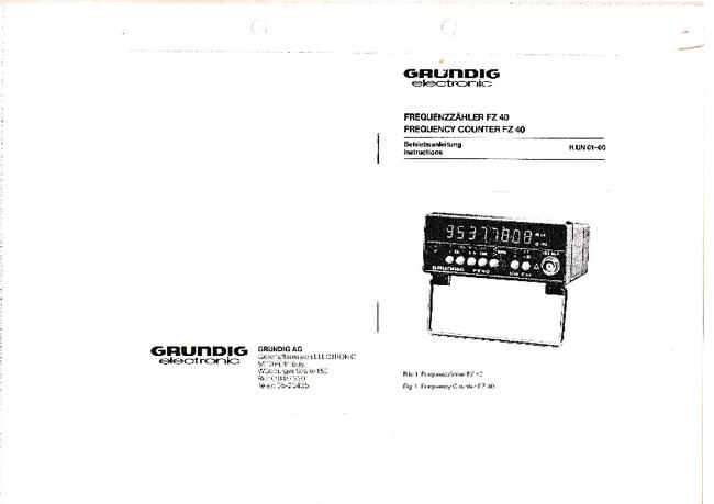 Service and User Manual Grundig FZ-40