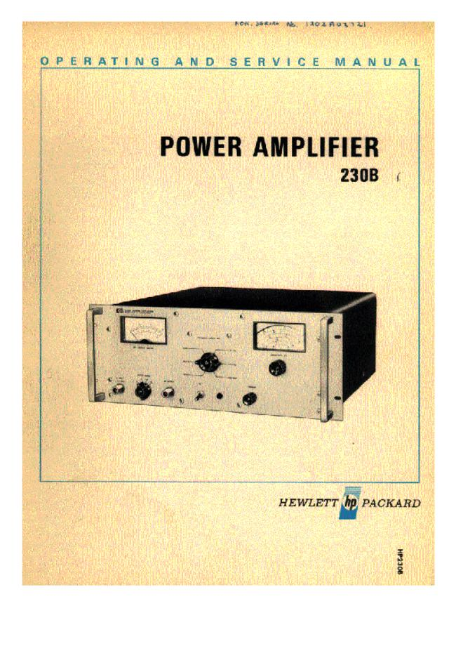 Service and User Manual HewlettPackard 230B