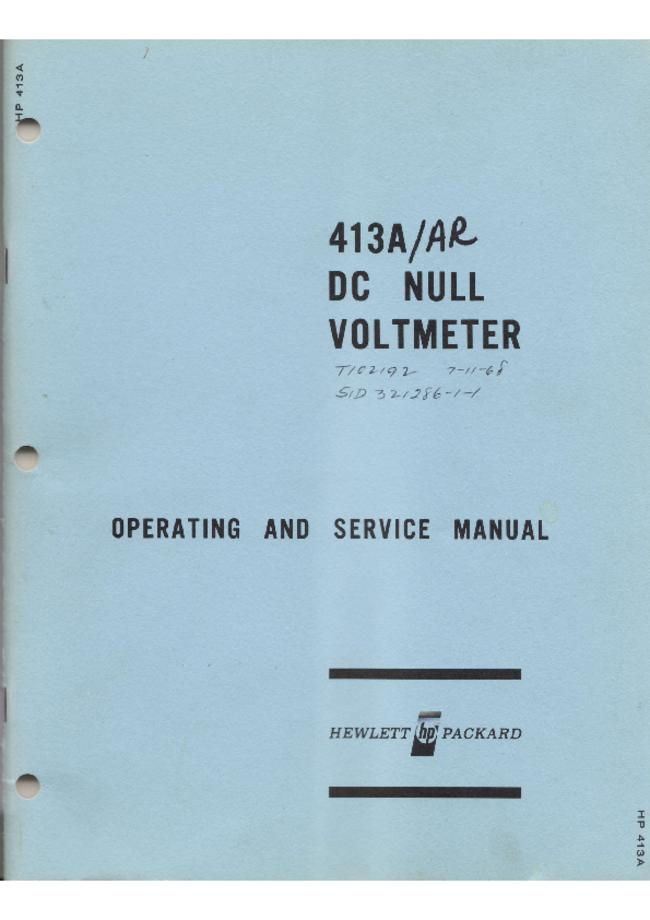 Service and User Manual HewlettPackard 413AR