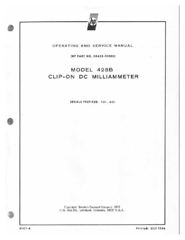 Service and User Manual HewlettPackard 428B