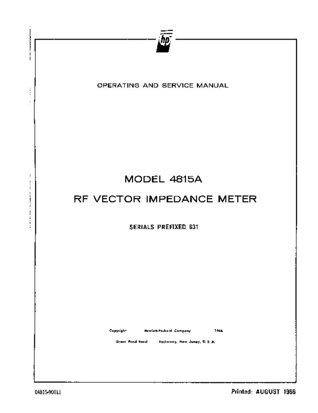 Service and User Manual HewlettPackard 4815A