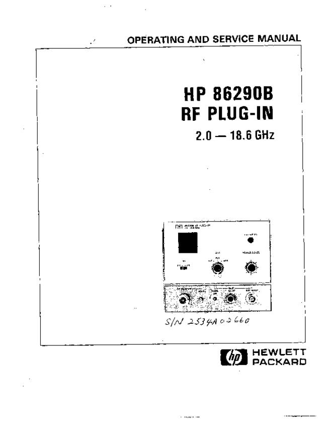 Service and User Manual HewlettPackard HP 86290B