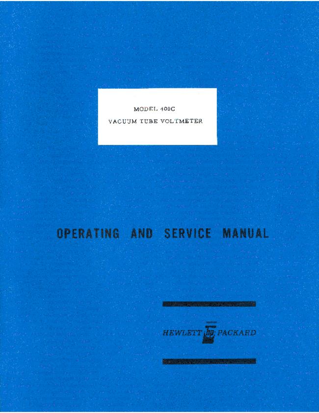 Service and User Manual HewlettPackard 400C