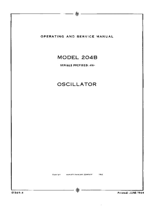 Service and User Manual HewlettPackard 204B