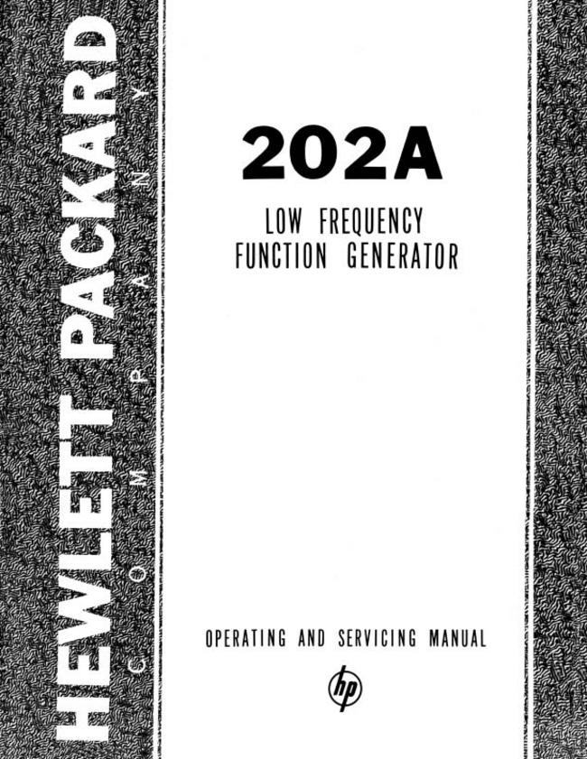 Service and User Manual HewlettPackard 202A