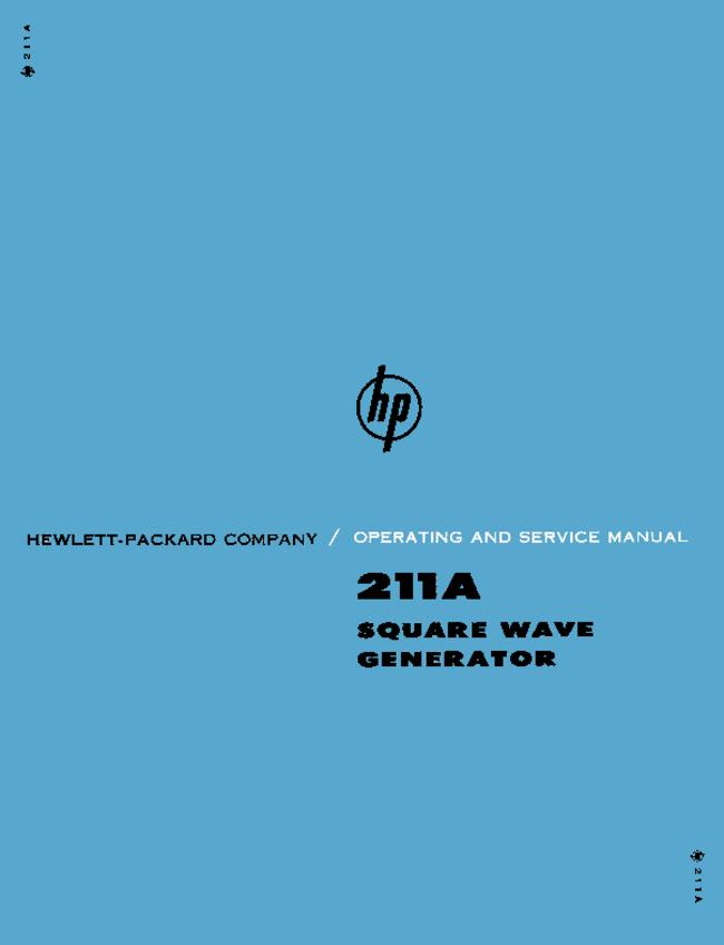 Service and User Manual HewlettPackard 211A