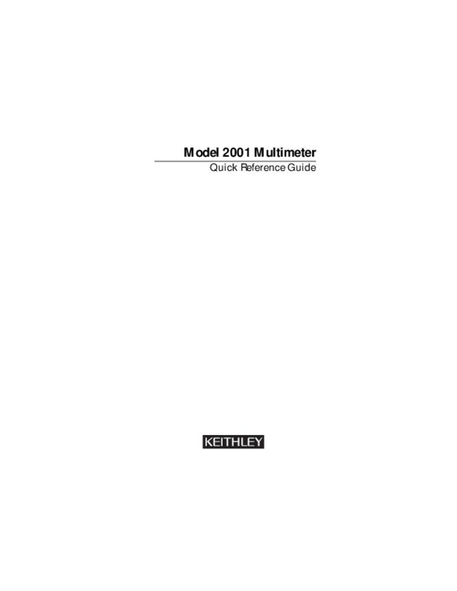 User Manual Keithley 2001