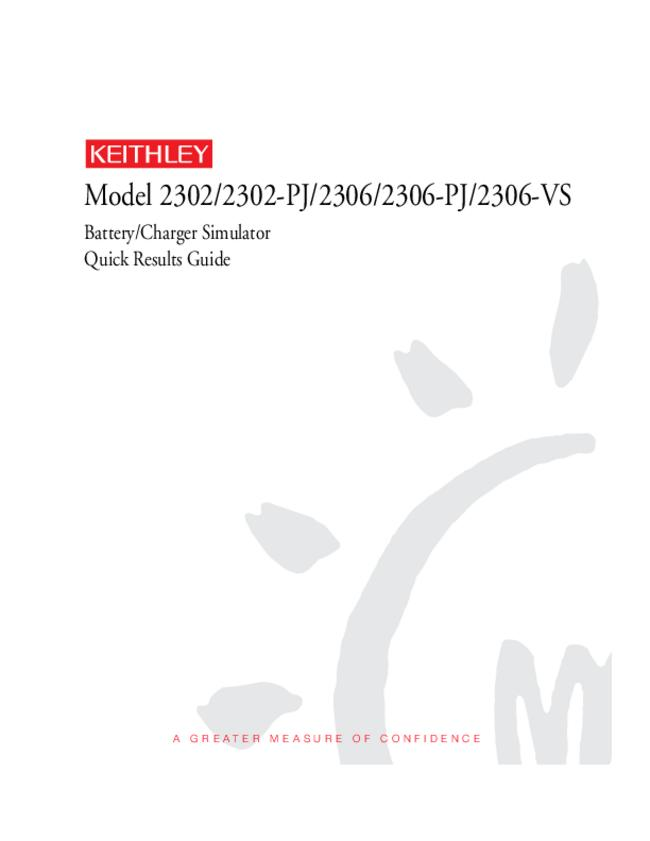 User Manual Keithley 2306-VS