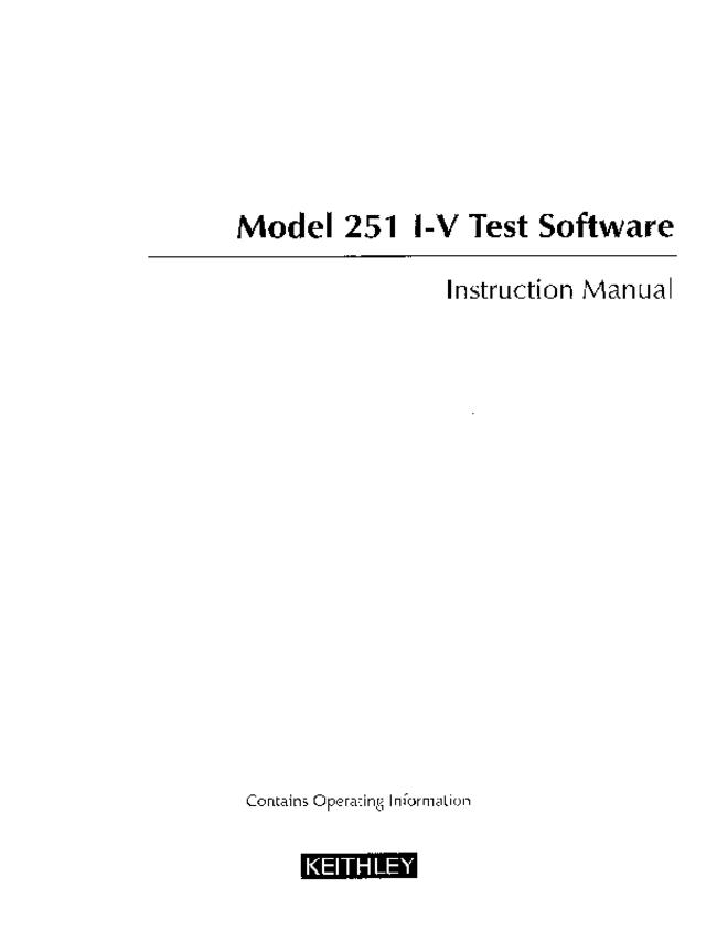 User Manual Keithley 251 I-V Test Software