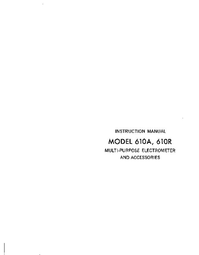 Service and User Manual Keithley 610R