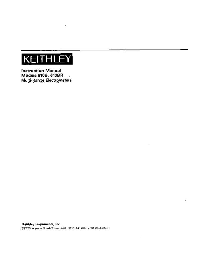 Service and User Manual Keithley 610BR