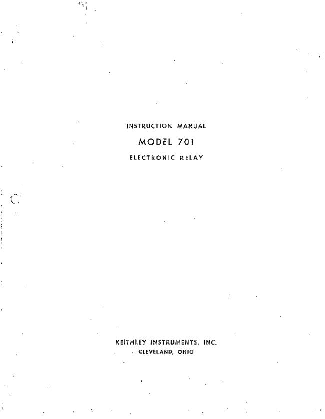Service and User Manual Keithley 701