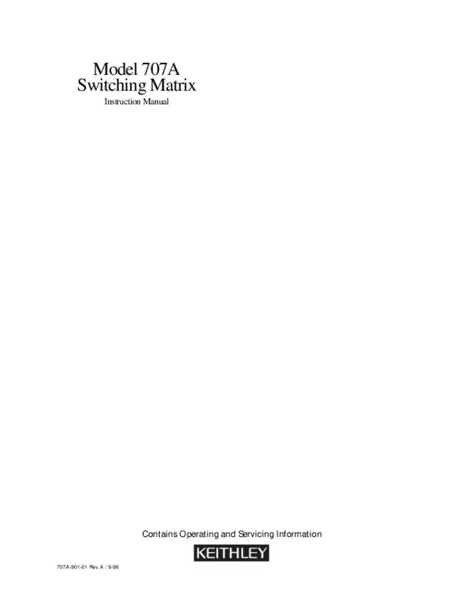 Service and User Manual Keithley 707A