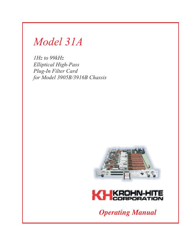 User Manual KrohnHite 31-3