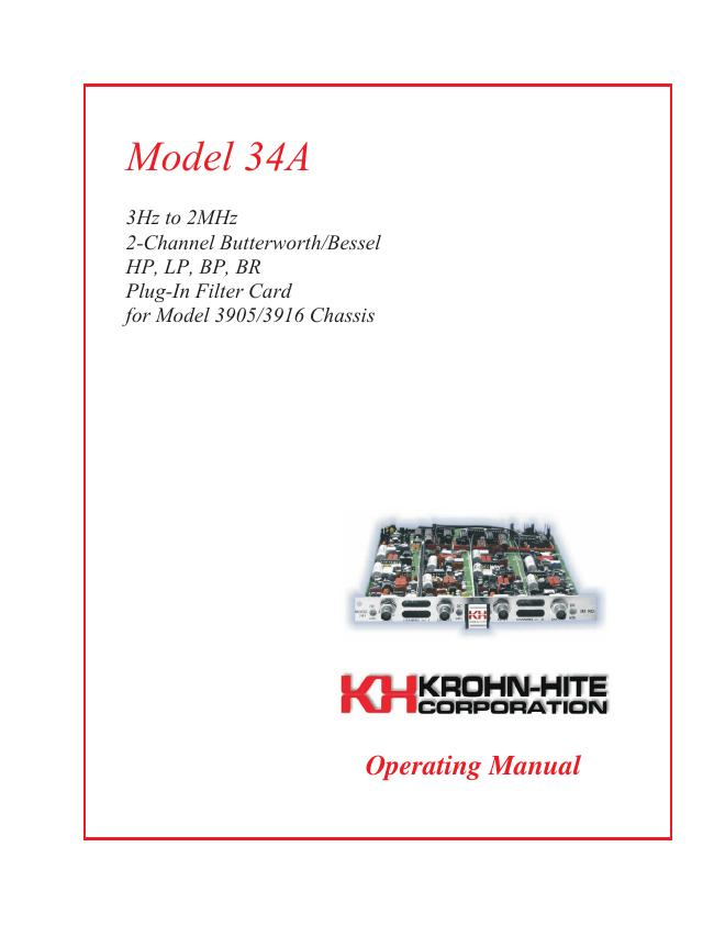 User Manual KrohnHite 34A