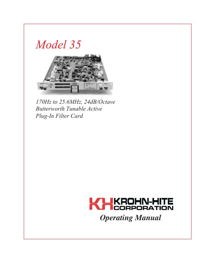 User Manual KrohnHite 35