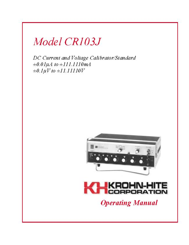 User Manual KrohnHite CR103J