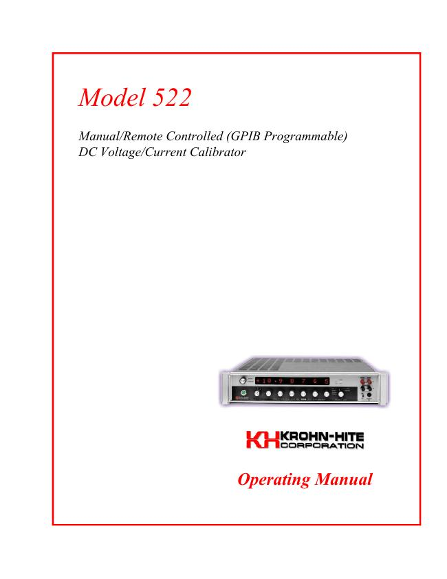 User Manual KrohnHite 522