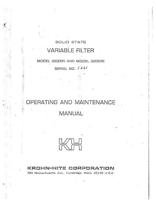 Service and User Manual KrohnHite 3202