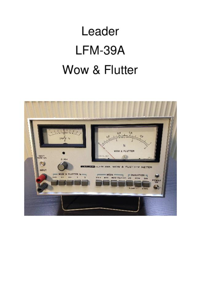 Service and User Manual Leader LFM-39A
