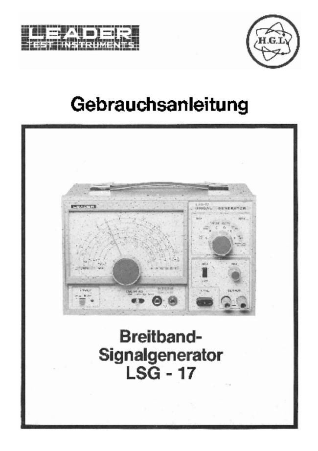 User Manual with schematics Leader LSG-17