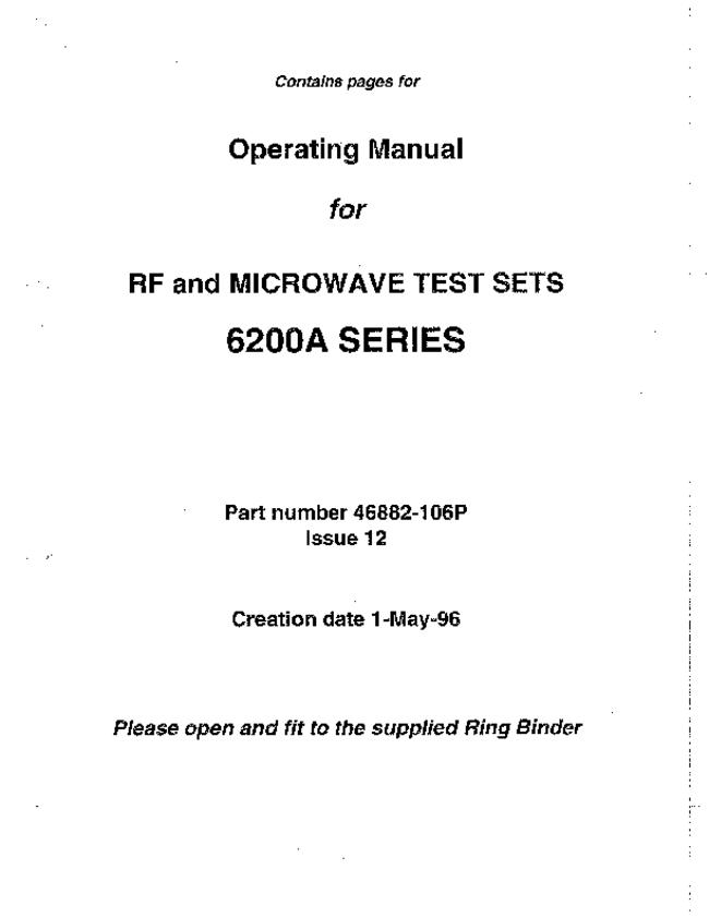 User Manual Marconi 6200A Series