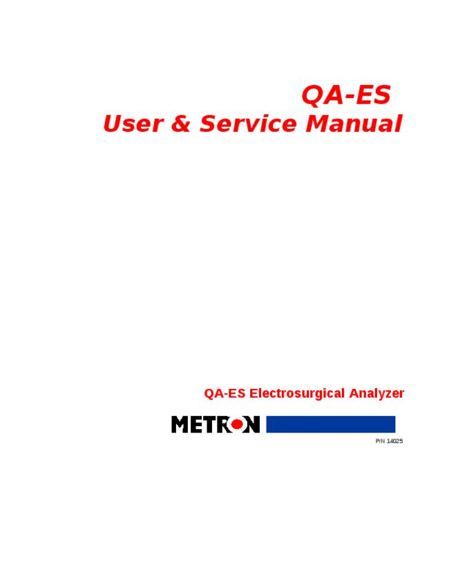 Service and User Manual Metron QA-ES