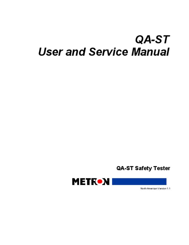 Service and User Manual Metron QA-ST