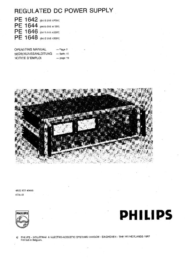 Service and User Manual Philips PE 1648