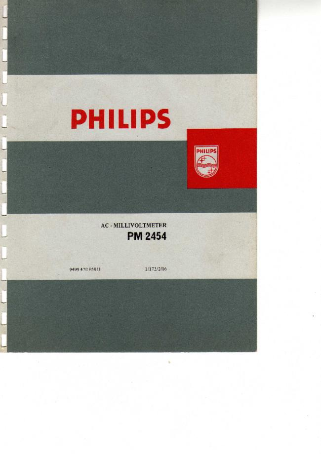 Service and User Manual Philips PM 2454