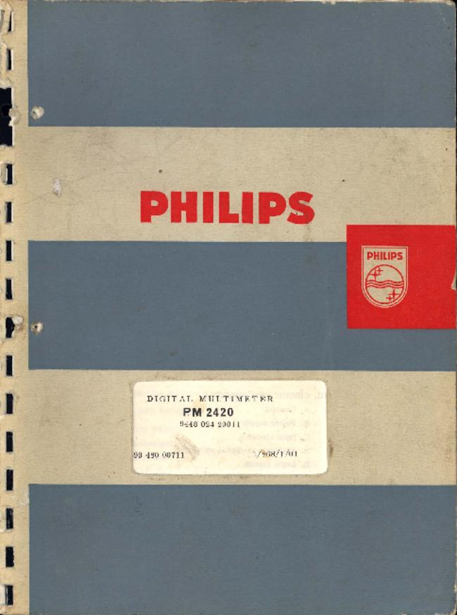 Service and User Manual Philips PM 2420