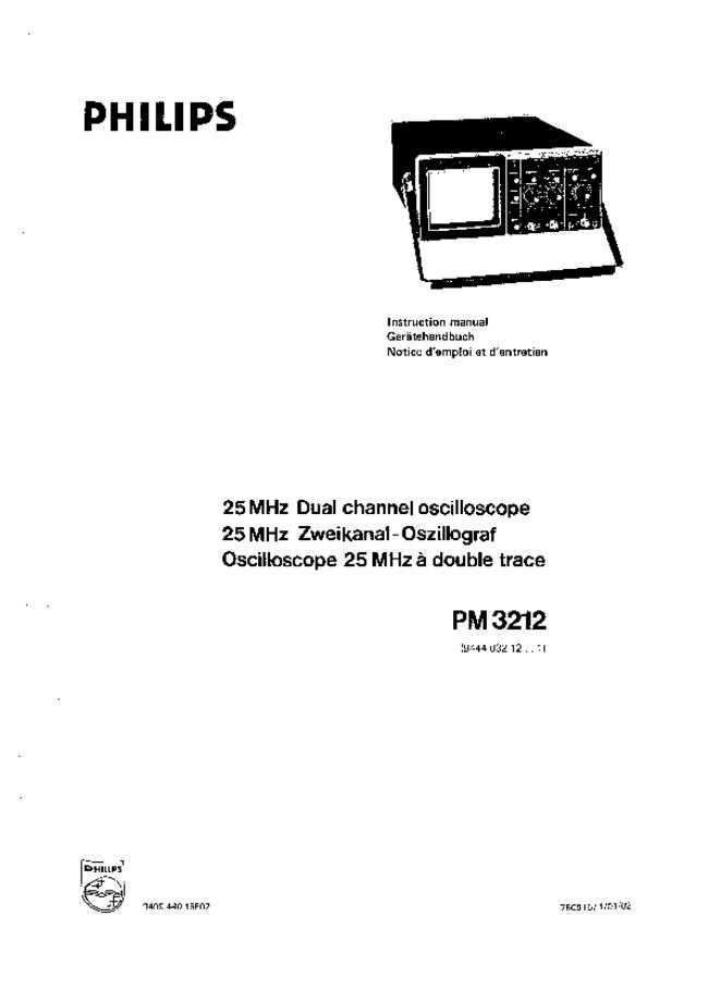 Service and User Manual Philips PM 3212