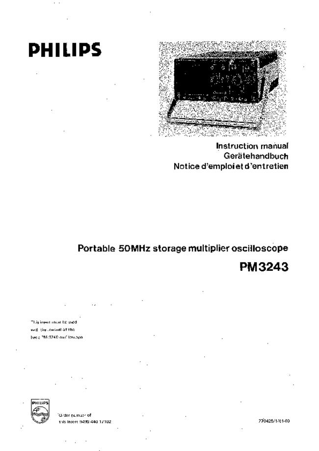 Service and User Manual Philips PM3243