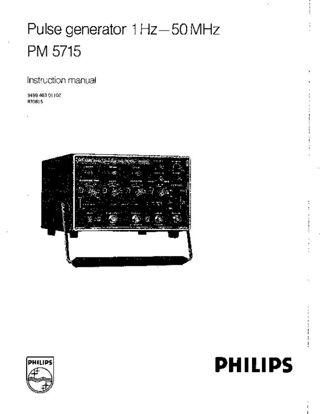 Service and User Manual Philips PM 5715