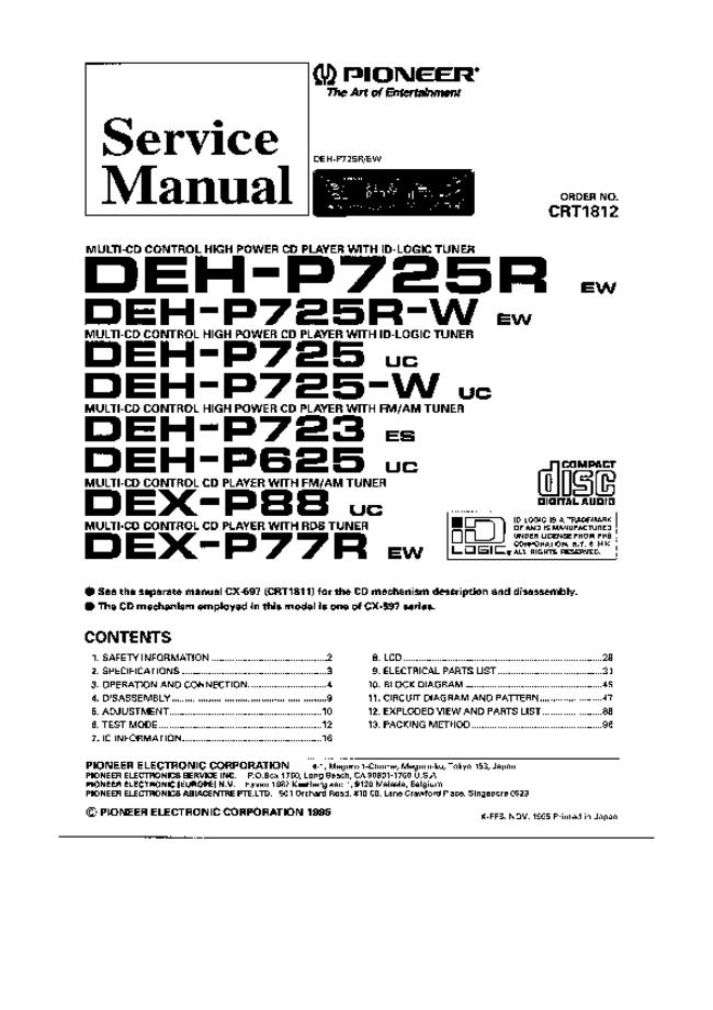 Pioneer -- DEH-P725R-W -- Download your lost manuals for free