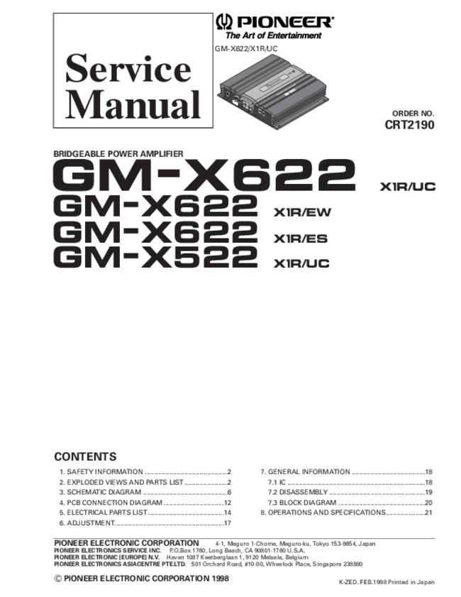 Pioneer -- GM-X522 X1R/UC -- Download your lost manuals for free