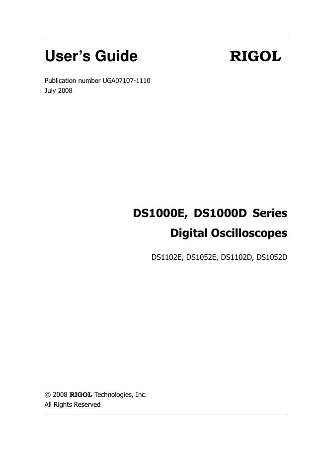 User Manual Rigol DS1052D