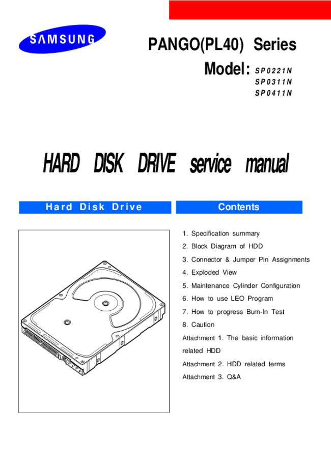 Service Manual Samsung SP0411N