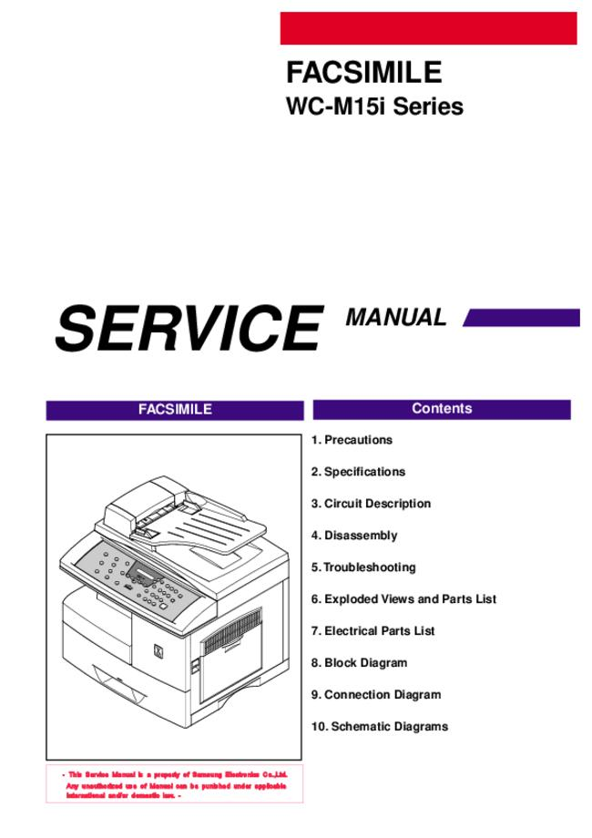 Service Manual Samsung WC-M15i Series