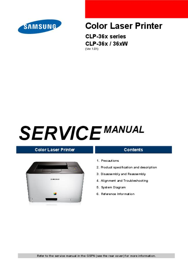 Service Manual Samsung CLP-36xW Series