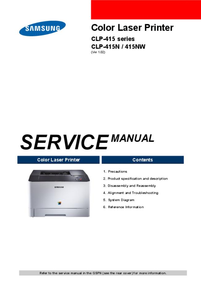 Service Manual Samsung CLP-415 Series