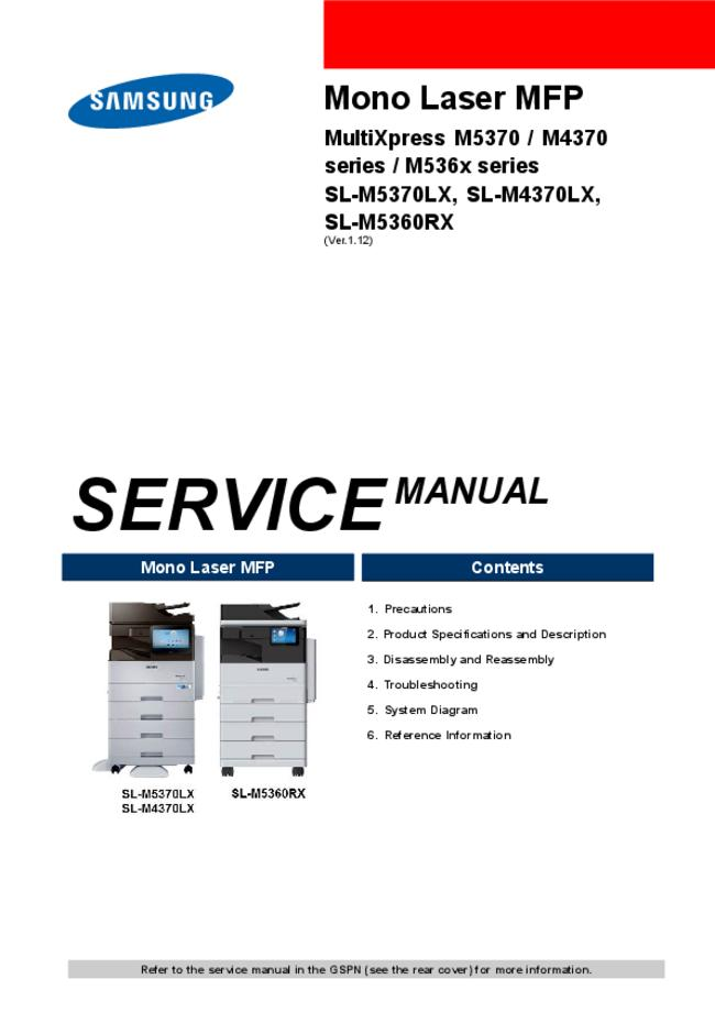 Service Manual Samsung MultiXpres M536x Series
