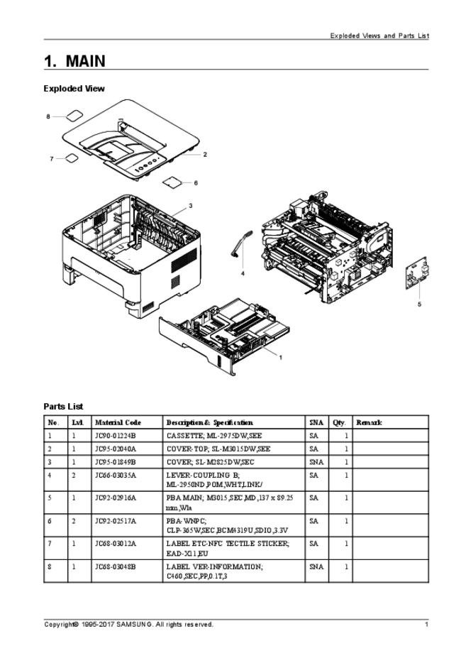Service Manual, Part List only Samsung Xpress SL-M3015dw